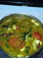 Spinach, Tomato, Vegetable Dal Stew with many special and sharp spices.