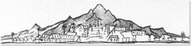 Arunachala drawn bySri Ramana