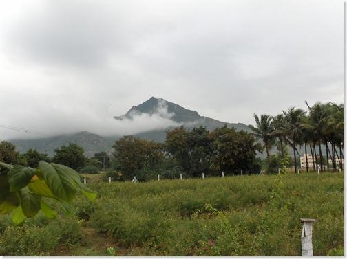 Arunachala behind the  cloud
